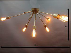 lámpara sputnik latón 6 luces