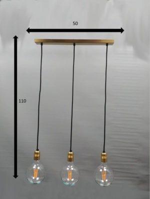 medidas lampara de techo dorado y cable negro